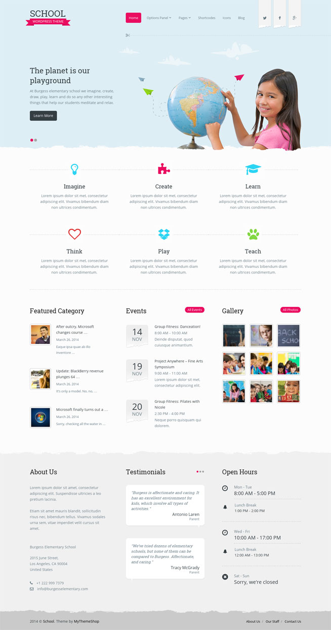 School WordPress Theme DayCare MyThemeShop