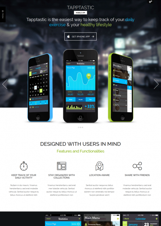 Tapptastic WordPress Theme for Mobile App Developers