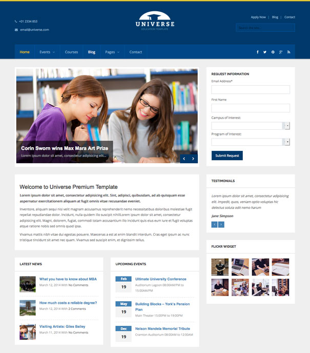 Universe WordPress College  Theme