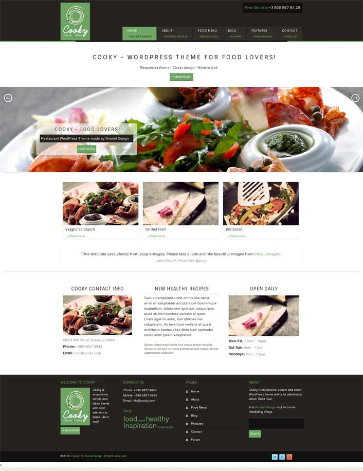 cooky restaurant wordpress theme