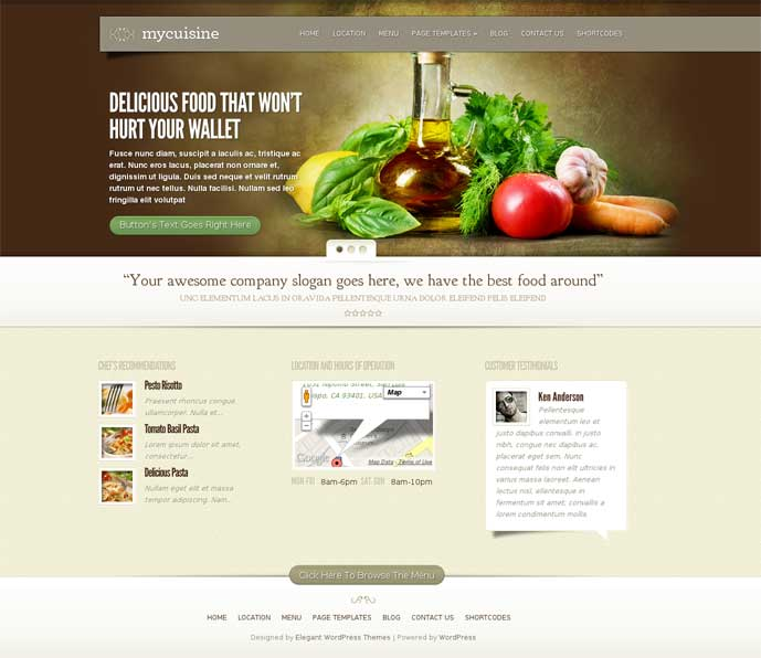 MyCuisine WordPress Theme for Restaurants