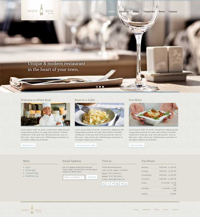 White Rock WordPress Theme for Restaurants