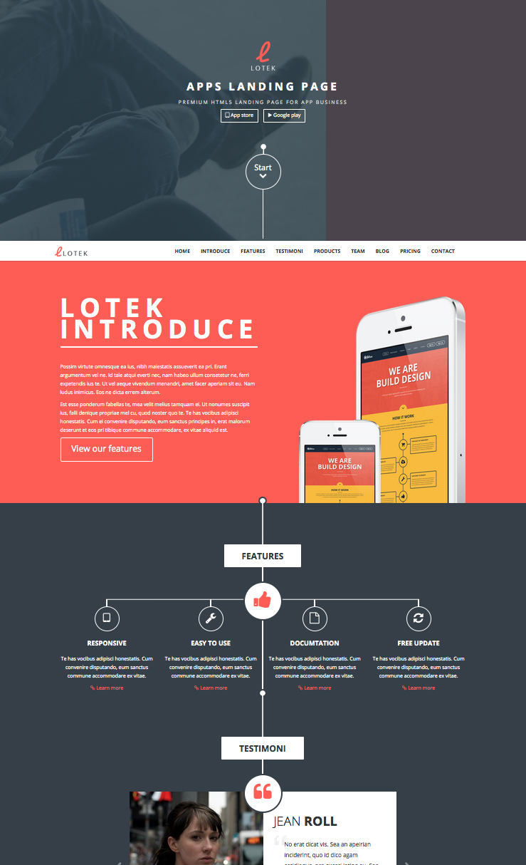 Lotek Mobile App Landing Page WordPress Theme