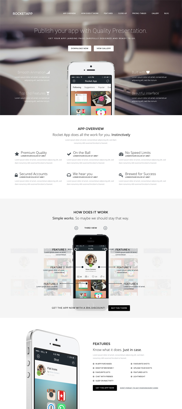 Rocket App WordPress Theme for Mobile Apps